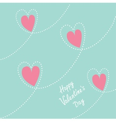 Pink dash line heart background Flat design vector image vector image