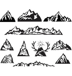Simple black and white mountain set vector