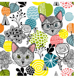 Smart cats and colorful abstract shapes vector