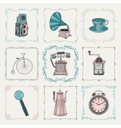 Vintage icons and frames vector