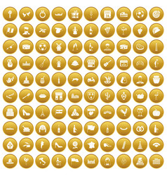 100 wine icons set gold vector
