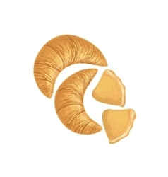 Croissants and scones bakery assortment icon vector