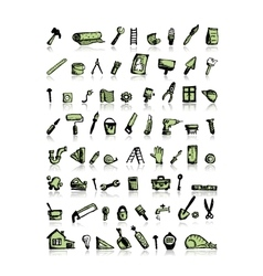 Repair icons sketch for your design vector