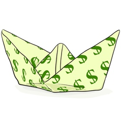 Paper boat with a dollar sign vector