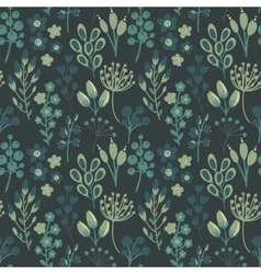Seamless pattern with flowers leaves vector