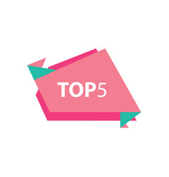 Top5 text in label pink and green vector