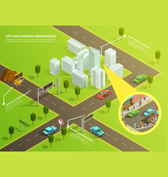 Isometric infographic city navigation vector
