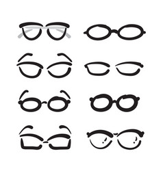 group of hand drawn glasses on white background vector image