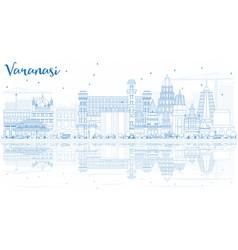 Outline varanasi india skyline with blue vector