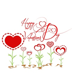 Happy valentines with heart garden vector