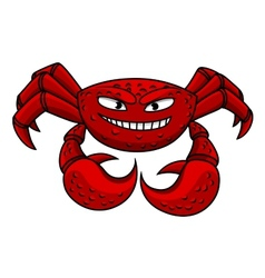 Cartoon red crab character vector image