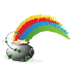 Pot with gold and rainbow vector