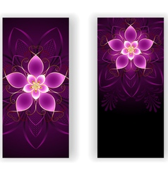 Two banners with pink flower vector