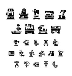 Set icons of machine tool robotic industry vector
