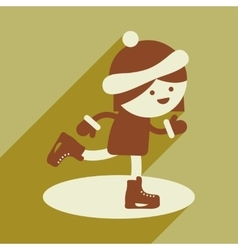 Flat icon with long shadow girl skates vector