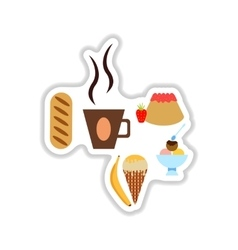 Set stylish paper stickers savory and sweet snacks vector
