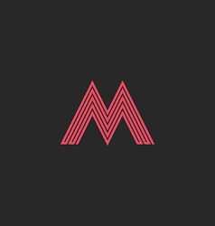 Letter m monogram outline letter initial wedding vector