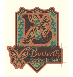 grunge label with butterflies vector image