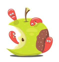 Worm eaten rotten apple vector