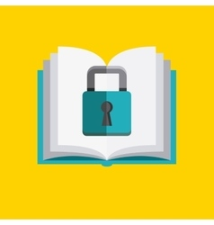 Book and padlock icon copyright design vector