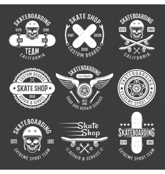 Skateboarding light emblems vector