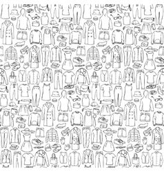 Doodle seamless pattern with man and woman clothes vector