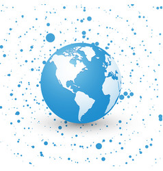 Blue world globe on dotted background planet vector