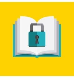 Book and padlock icon copyright design vector