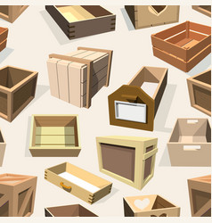 Box package wooden empty drawers and packed vector
