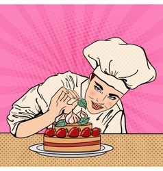 Chef decorating delicious cake pop art vector