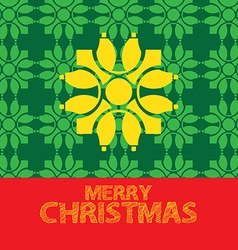 Christmas greeting card green yellow red vector