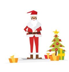 Christmas santa claus with gift box vector