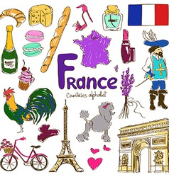 Collection of France icons vector image