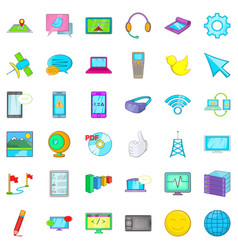 Computer play icons set cartoon style vector
