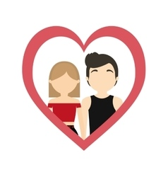 Couple love frame heart passion lifestyle vector