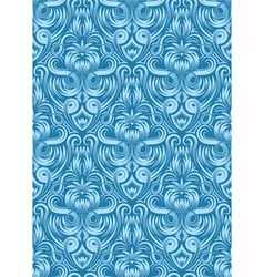 Damask seamless pattern repeating background Blue vector image vector image