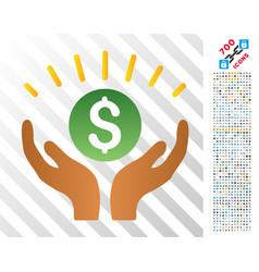 Financial prosperity hands flat icon with bonus vector