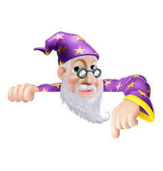 fun wizard pointing down vector image vector image