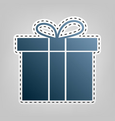 Gift box sign blue icon with outline for vector