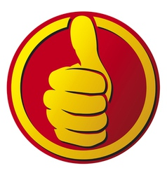 hand showing thumbs up button vector image