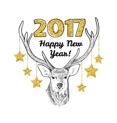 Happy new year card with hand drawn deer and vector
