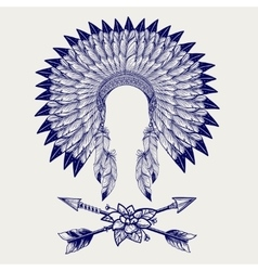 Hative american headdress sketch vector image