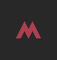Letter m monogram outline letter initial wedding vector