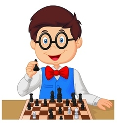 Little boy playing chess vector