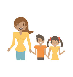 Mom and children together happy vector