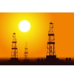 Oil rigs over sunset vector image vector image