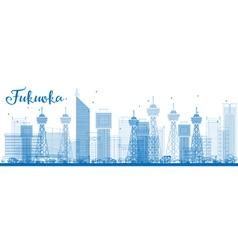 Outline fukuoka skyline with blue landmarks vector