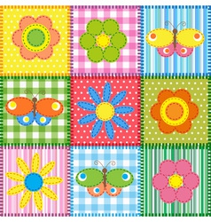 Patchwork with butterflies and flowers vector image