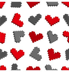 Pixel hearts seamless background pattern vector image
