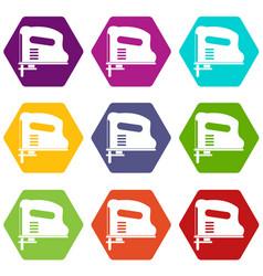 Pneumatic gun icon set color hexahedron vector